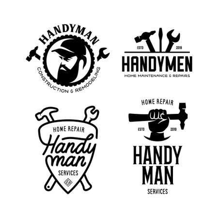 Handyman labels badges emblems and design elements. Carpentry related vector vintage illustration.