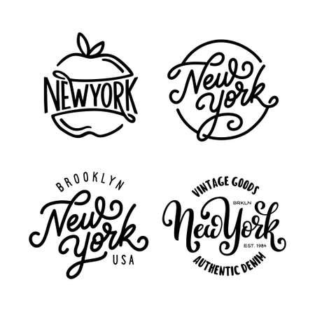 Vintage hand lettered t-shirt design. New york city text set. Vector illustration.