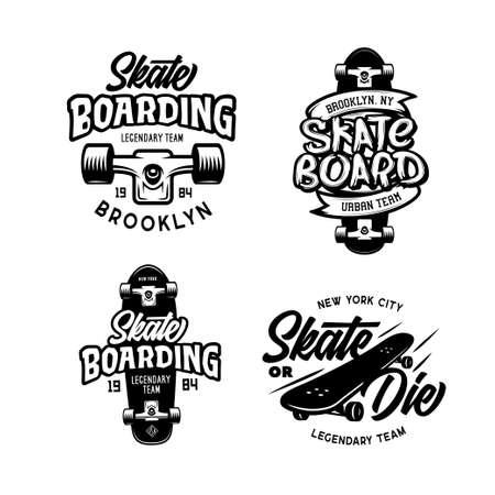 Skateboarding t-shirt design set. Vector vintage illustration. 写真素材 - 129826164