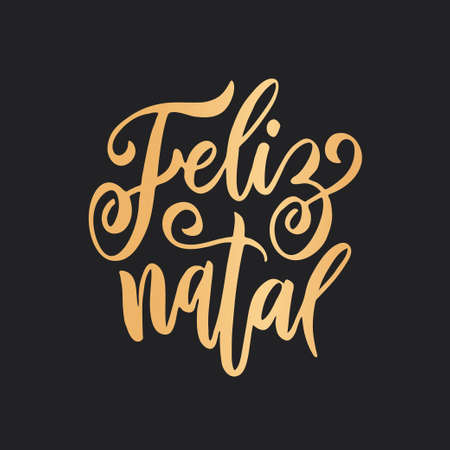 Feliz Natal portuguese Merry Christmas lettering. Vector illustration. Vektorové ilustrace