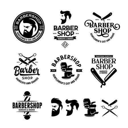 Jeu de badges de salon de coiffure. Illustration vintage de vecteur. Vecteurs