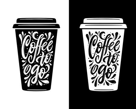 Coffee to go lettering. Take away coffee typography. 向量圖像
