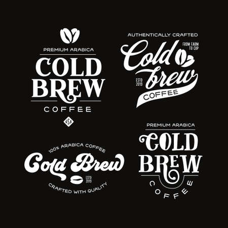 Cold brew coffee labels badges emblems set.
