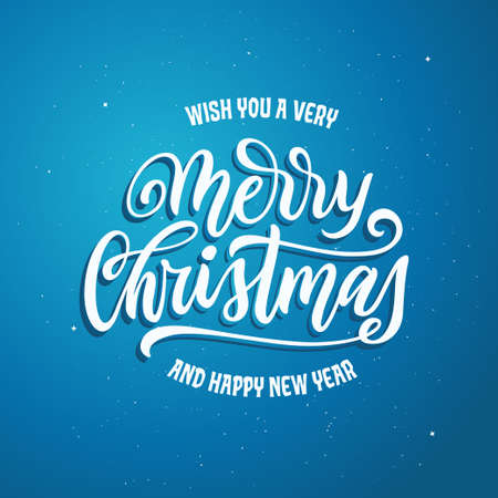 Merry Christmas and Happy New Year lettering template. Greeting card or invitation.