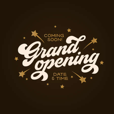 Grand opening template, banner, poster. Illustration