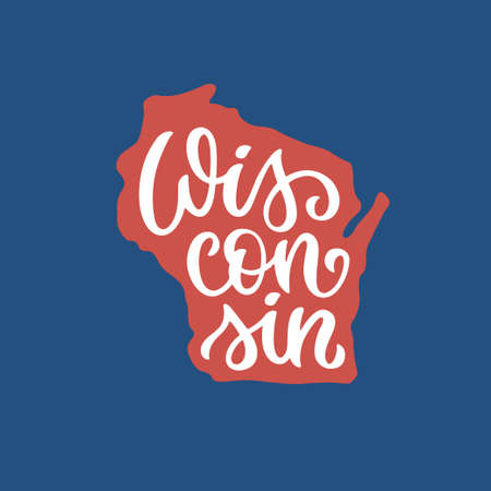 Wisconsin. Hand drawn USA state name inside state silhouette  イラスト・ベクター素材