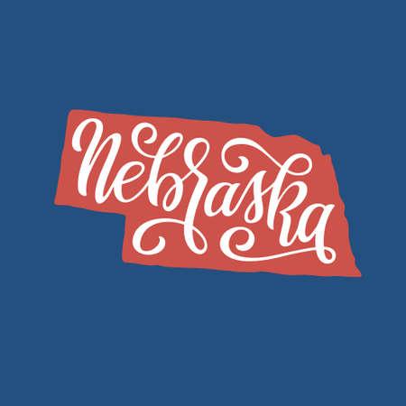Nebraska. Hand drawn USA state name inside state silhouette. Vector illustration. Vector Illustration