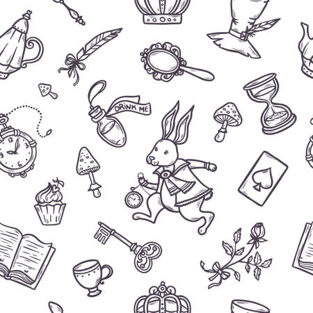 Hand drawn vector wonderland seamless pattern.  イラスト・ベクター素材