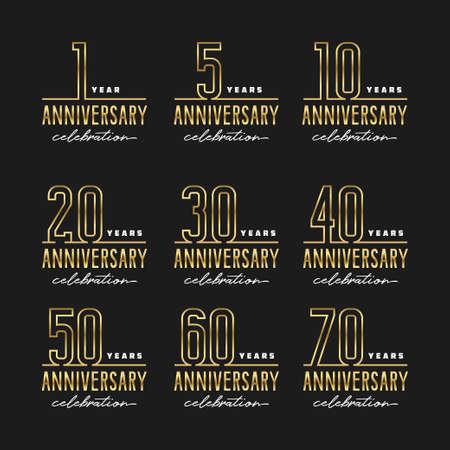 Anniversary celebration golden template set. Vector illustration.