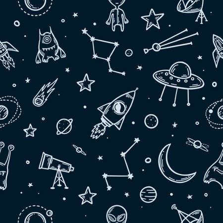 Elementy przestrzeni ręcznie rysowane wzór. Ilustracja wektorowa.