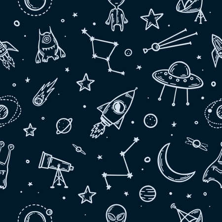 Space elements hand drawn seamless pattern. Vector illustration. Vectores