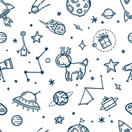 Elementos espaciales dibujados a mano de patrones sin fisuras. Ilustración de vector.