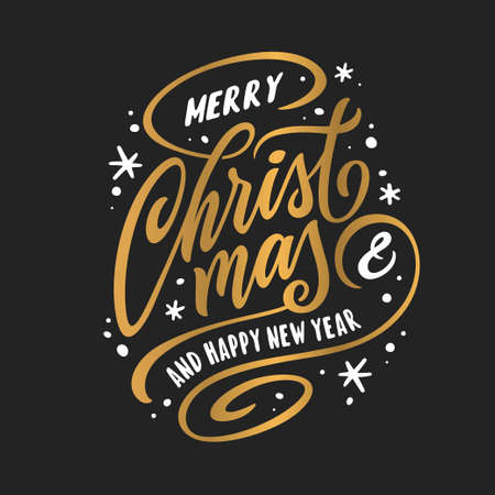 Merry Christmas and Happy New Year lettering template. Greeting card or invitation. Vector vintage illustration.