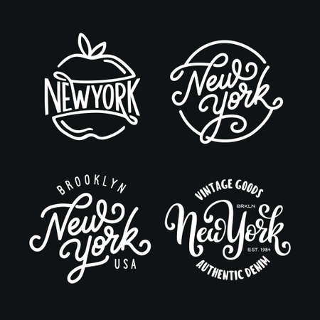 Vintage hand lettered t-shirt design. New york city text set.