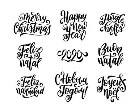 Merry Christmas and Happy New Year lettering set with english, spanish, portuguese, russian, italian, french greetings. Feliz navidad, feliz natal, calligraphic design. Vector illustration.