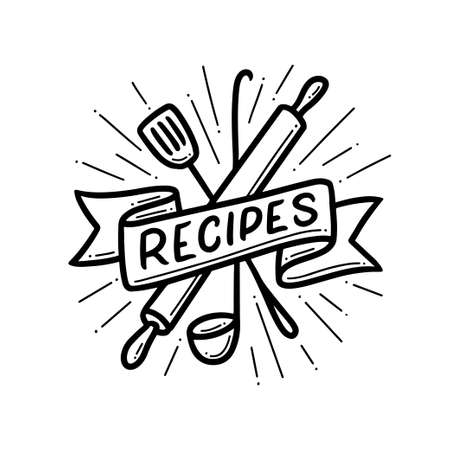 Recipe book hand drawn cover. Vector illustration. Çizim