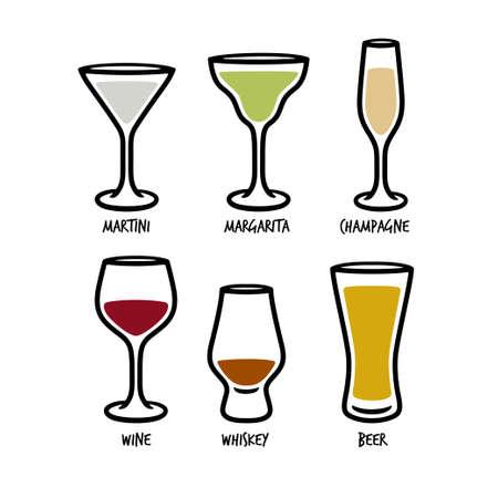Set of glasses for beverages. Vector illustration.