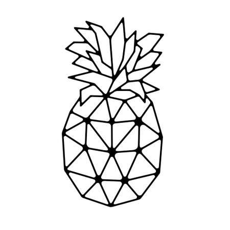 Ananas poligonale geometrico. Illustrazione vettoriale. Vettoriali