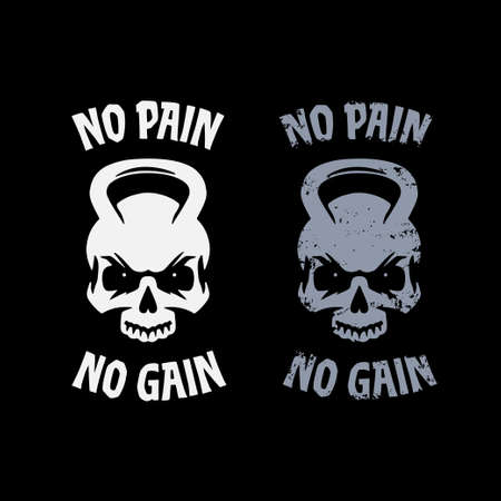 No pain no gain poster. Skull kettlebell symbol clean and grunge style. Workout sports related motivational print for t-shirts apparel design. Vector vintage illustration. 向量圖像