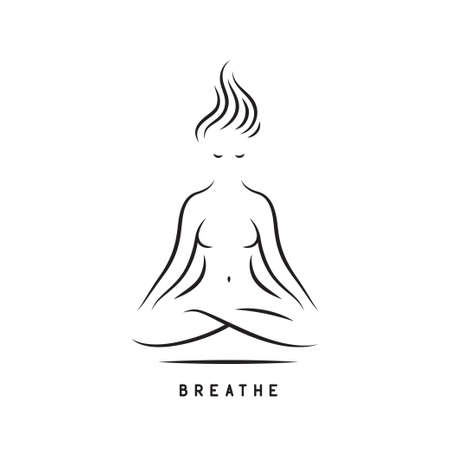 Breathe yoga motivational poster. Vector illustration.