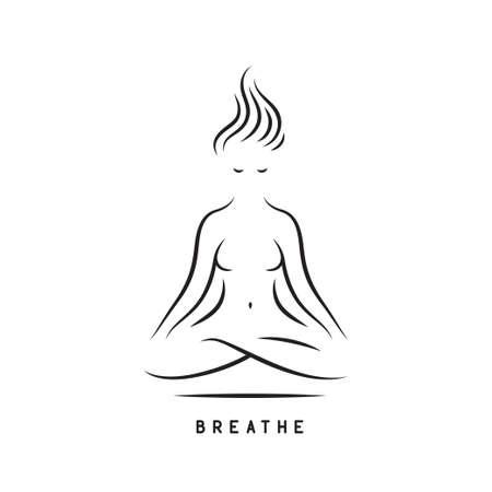 Cartel motivacional de respirar yoga. Ilustración de vector. Ilustración de vector