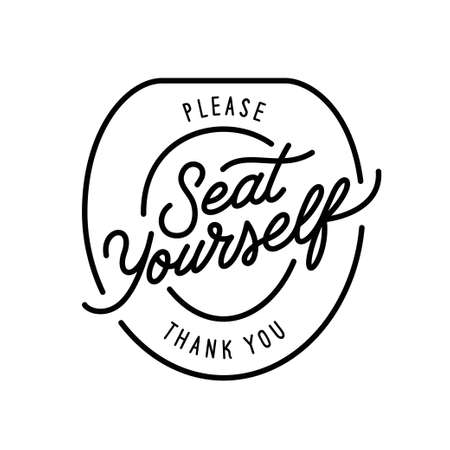 Please seat yourself thank you bathroom funny poster. Vector illustration.