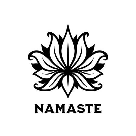 Namaste sign. Yoga center emblem. Vector vintage illustration.