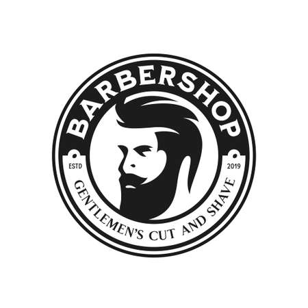 Barber shop emblem badge logotype sign. Vector vintage illustration. Illustration