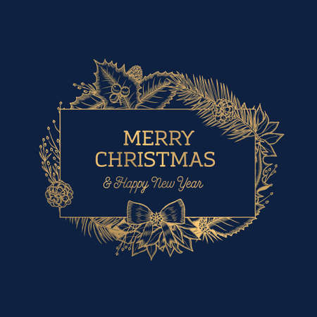 Merry Christmas Happy New Year botanical card. Vector illustration.