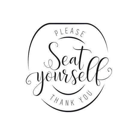 Please seat yourself bathroom poster. Vector illustration. 向量圖像