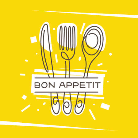 Bon Appetit kitchen monoline style poster. Vector illustration.  イラスト・ベクター素材