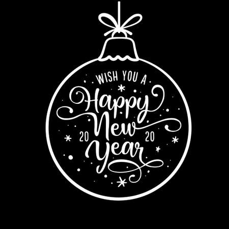 Happy New Year lettering template. Monochrome greeting card or invitation. Vector vintage illustration.