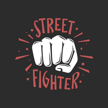 Street fighter t-shirt design. Vector illustration.