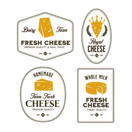 Cheese labels set. Vector vintage illustration. Ilustração