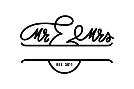 Mr and Mrs wedding monogram template. Wedding related typography. Vector illustration.