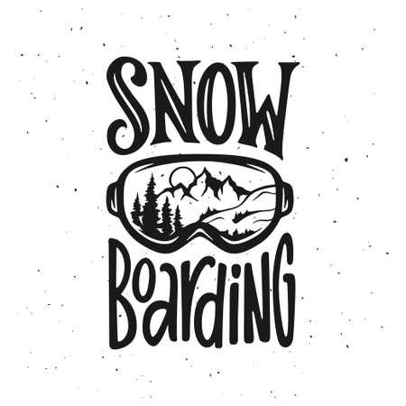 Snowboarding t-shirt design. Vector vintage illustration.
