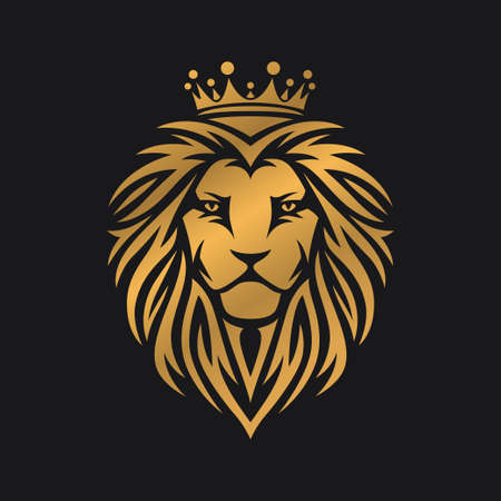 Lion head template. Vector vintage illustration.