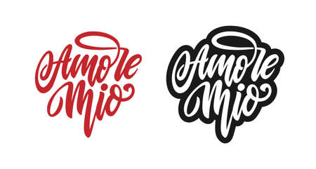 Amore mio Valentines day typography. Vector illustration.