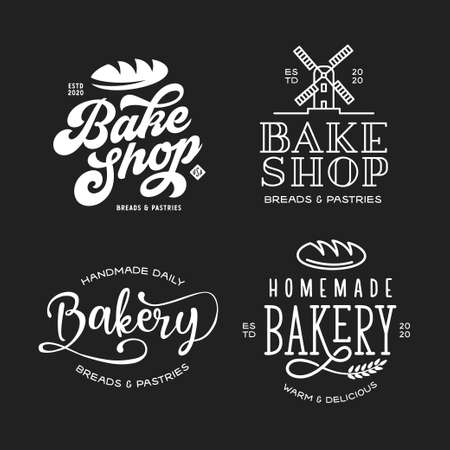 Bakery emblems set. Vector vintage illustration.