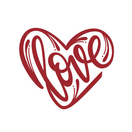 Love word heart typography. Vector illustration.