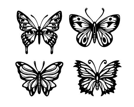 Butterfly hand drawn tattoo set. Vector illustration.