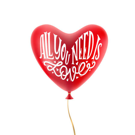 All you need is love typography on red balloon. Vector illustration.