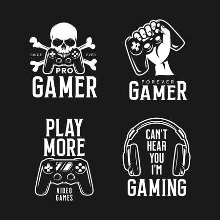 Video games related t-shirt set. Vector illustration.