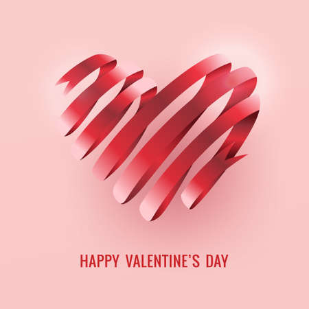 Happy Valentines day card ribbon heart vector illustration.