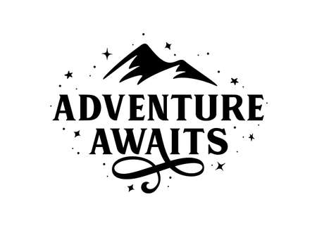 Adventure awaits modern lettering tempate. Vector illustration. Иллюстрация