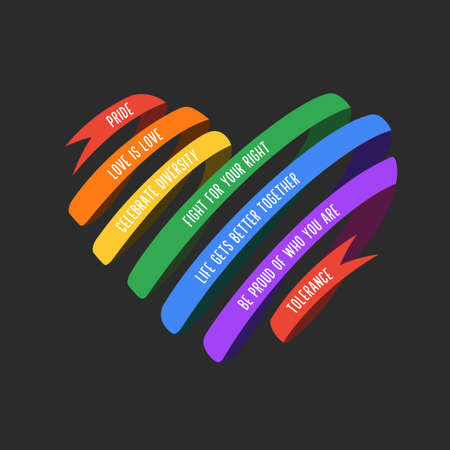 Lgbt ribbon shaped heart. Vector illustration. Иллюстрация