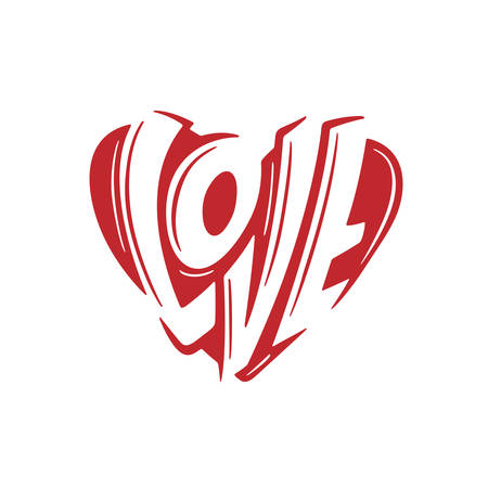 Love sign heart modern lettering. Vector illustration.