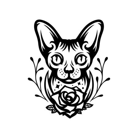 Sphinx cat head portrait tattoo drawing. Vector illustration.