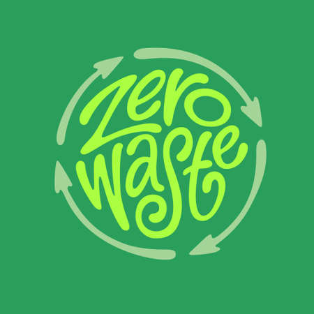 Zero waste handwritten typography. Vector illustration. Иллюстрация