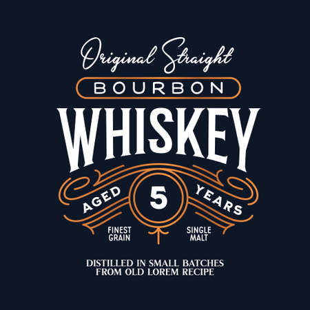 Whiskey Bourbon label emblem. Vintage vector illustration. Иллюстрация